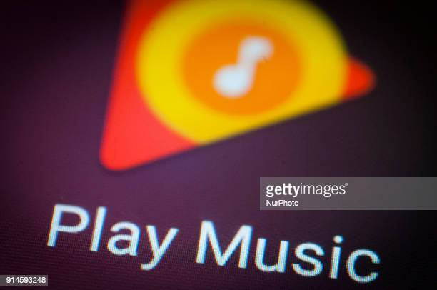 The Google Play Music store app is seen on an Android portable device on February 5 2018