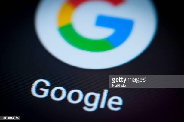 The Google search app is seen on an Android portable device on February 5 2018