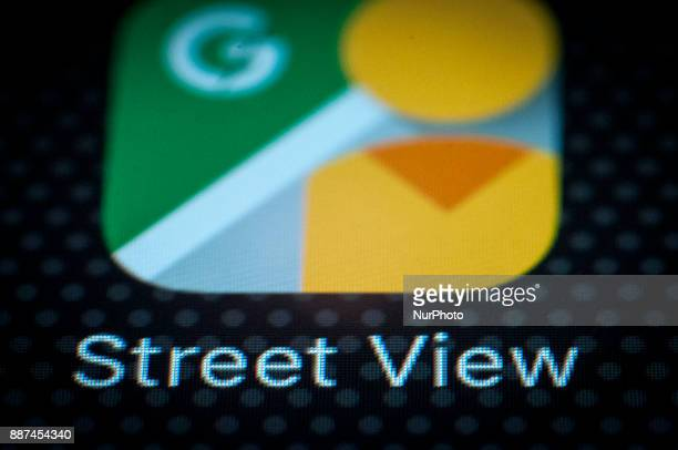 The Google Street View application is on a portable device in this photo illustration on December 6 2017