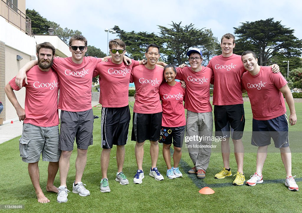 The Google team pose at the Founder Institute's Silicon Valley Sports League on July 13, 2013 in San Francisco, California.