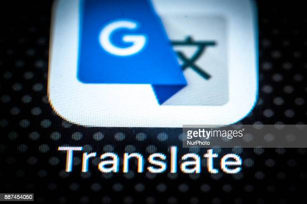 The Goole Translate app for mobile devices is seen on the screen of a portable device on December 6 2017