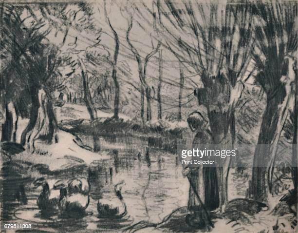 The Goose Girl' c1870s Print based on a painting 'The Goose Girl at Montfoucault ' 1876 From The Etchings of the French Impressionists and Their...