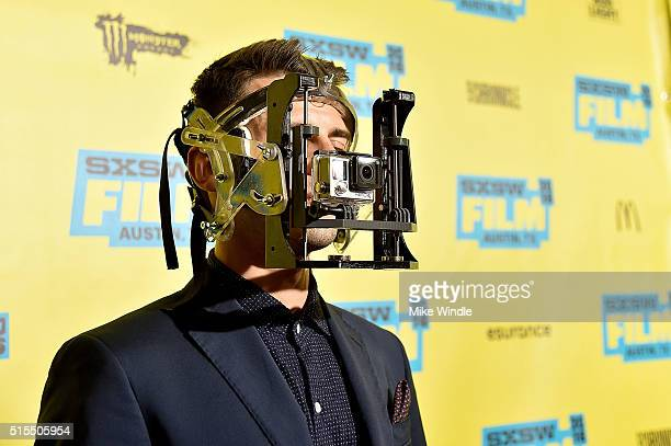The GoPro camera rig that was deisgned to capture first person cinematography is worn by an actor during the screening of Hardcore Henry during the...