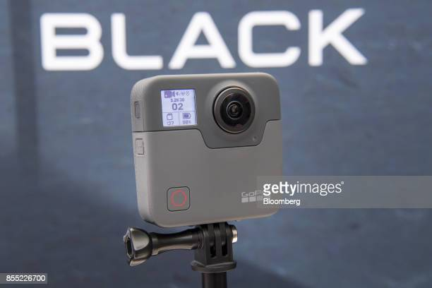 The GoPro Inc Fusion 360 camera is displayed during an event in San Francisco California US on Thursday Sept 28 2017 GoPro unveiled the latest...