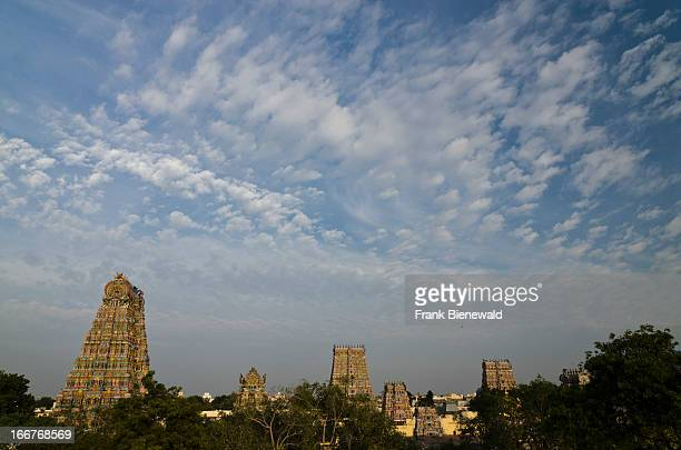 The Gopurams of the MenakshiSundareshwara Temple in Madurai are up to 50 m high and artfully decorated with thousends of colourful statues of Gods...
