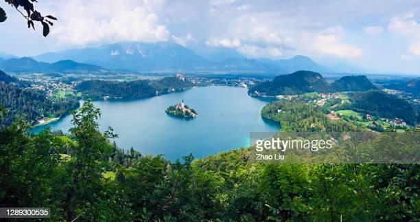 den underbara sjön bled i slovenien - bledsjön bildbanksfoton och bilder