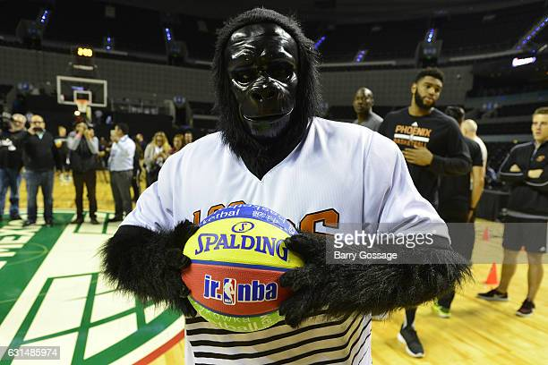 The Gorilla mascot of the Phoenix Suns participates in a NBA Cares Unified Basketball Clinic during NBA Global Games at Arena Ciudad de Mexico on...