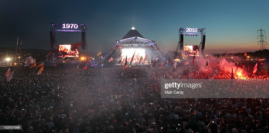 The Gorillaz perform on the Pyramid Stage at Glastonbury Festival at Worthy Farm, Pilton on June 25, 2010 in Glastonbury, England. The gates opened on Wednesday to what has become Europe's largest music festival and is celebrating its 40th anniversary.