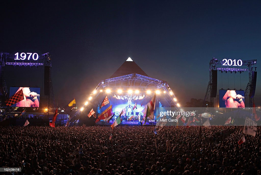 The Gorillaz perform on the Pyramid Stage at Glastonbury Festival at the 2010 40th Glastonbury Festival at Worthy Farm, Pilton on June 25, 2010 in Glastonbury, England. The gates opened on Wednesday to what has become Europe's largest music festival and is celebrating its 40th anniversary.