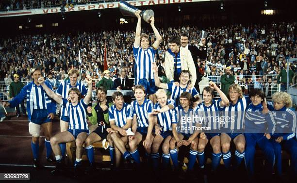 The Gothenburg team celebrate with the UEFA Cup after victory in the Hamburg v Gothenburg UEFA Cup Final 2nd Leg played at the Volksparkstadion in...