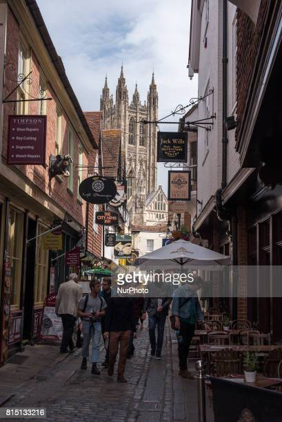 The gothic Canterbury Cathedral in seen through the shops inCanterbury on July 15 2017 Canterbury Cathedral in Canterbury Kent is one of the oldest...