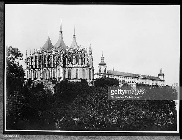 The Gothic Cathedral of St Barbara rises above the treetops at the town of Kutna Hora in Czechoslovakia Work on the cathedral began in 1388 under the...