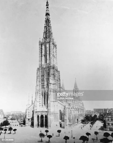 The Gothic cathedral or Munster in Ulm circa 1900 Construction was begun in 1377 and completed in 1890 and the spire is one of the world's tallest at...