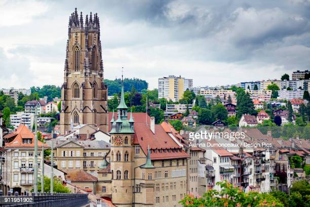 The Gothic Cathedral Skyline Of The Picturesque Historic Walled City Of Fribourg, In The French Speaking Part Of Switzerland