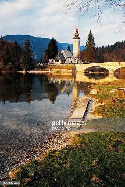 The Gothic church of St John on Lake Bohinj Bled Slovenia