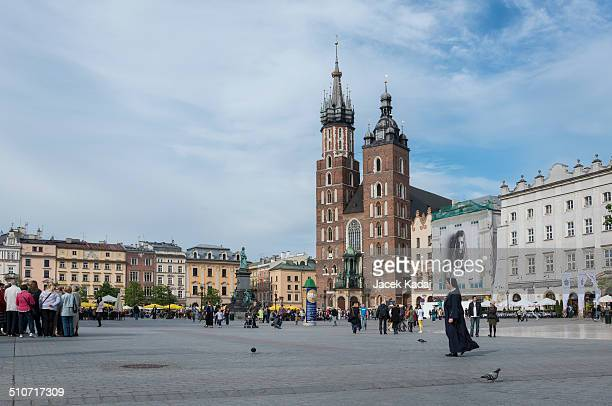 The gothic St Mary's Church in historical center of Krakow town in Poland Since 1962 church holding the title of minor basilica in Poland