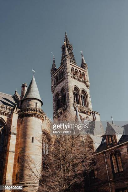 the gothic tower of glasgow university - strathclyde stock pictures, royalty-free photos & images