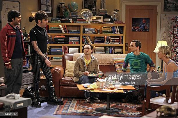 """The Gothowitz Deviation"" -- Howard and Raj visit a Goth nightclub to pick up women while Sheldon attempts to build a better Penny using..."