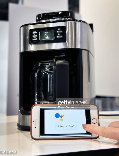 The Gourmia Barista Butler coffee maker is displayed during CES 2018 at the Las Vegas Convention Center on January 10 2018 in Las Vegas Nevada The...