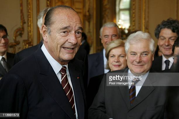 The gouvernement minister in a last lunch in the Elysee Palace in Paris France On May 09 2007Jacques Chirac president of the Republic before the...