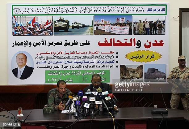 The Govenor of Aden Aidarus alZubaidi and police chief General Shallal Ali Shayae give a joint press conference in the southern Yemeni city of Aden...