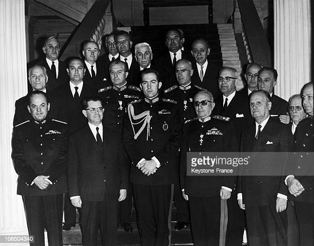 The Government Of Greek Colonels Left To Right Colonel George Papadopoulos VicePrime Minister Christos Kollias Prime Minister The King Constantin Ii...