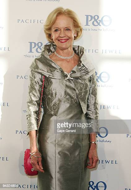 The Governor General Ms Quentin Bryce poses on the red carpet during the official launch of P&O's new superliner 'Pacific Jewel' at the Overseas...