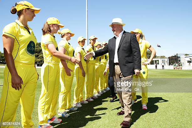 The Governor General of Australia Sir Peter Cosgrove meets Governer General's XI players during the women's tour match between the Governer General's...