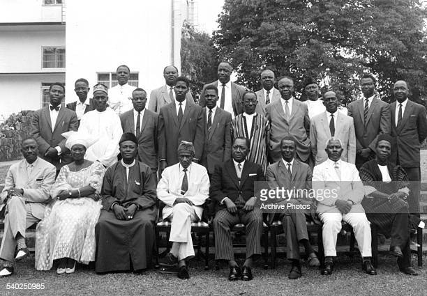 The Governor General, Sir Henry Lightfoot Boston poses with his Cabinet Ministers and Parliamentary Secretaries in Sierra Leone.