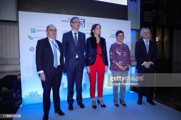The governor of Banco de España Pablo Hernandez de Cos the minister of Industry and Tourism Reyes Maroto minister of Foreign Affairs European Union...