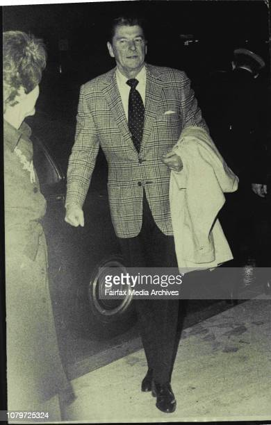 The Governor of California, Mr. Ronald Regan, and Mrs. Reagan, arrive at the Wentworth Hotel, Sydney, tonight. November 26, 1973. .