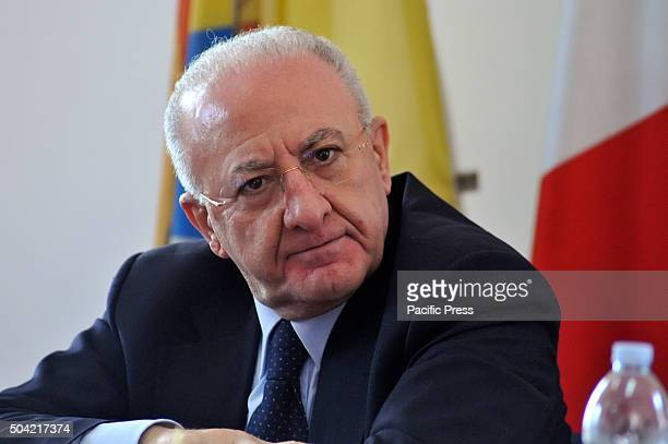 TERRA POZZUOLI NAPLES ITALY The Governor of Campania Vincenzo De Luca during his visit at Rione Terra in Pozzuoli for a press conference He has...