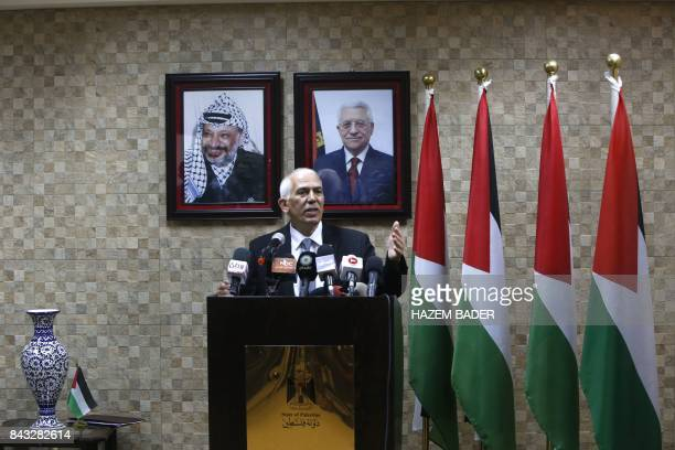 The governor of Hebron Kamel Hmeid speaks during a press conference adressing settler related matters in the Israeli occupied West Bank city of...