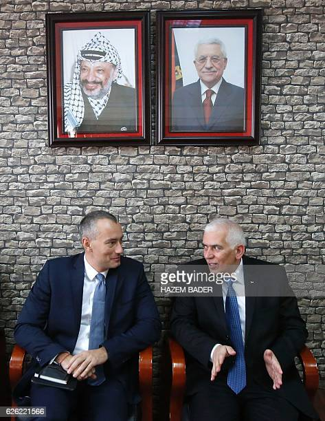 The governor of Hebron Kamel Hmeid speaks with UN Special Coordinator for the United Nations for the peace process in the Middle East Nikolay...