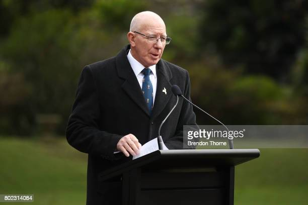The Governor of NSW David Hurley speaks at Government House on June 28 2017 in Sydney Australia The flags will fly permanently alongside the...