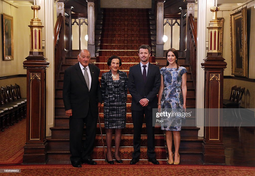 The Governor of NSW, Professor Marie Bashir, (2L) and her husband Nicholas Shehadie (L) pose with Crown Prince Frederik (2ndR) and Crown Princess Mary of Denmark (R) as they arrive at Government House on October 24, 2013 in Sydney, Australia. Prince Frederik and Princess Mary will visit Sydney for five days and will attend events to celebrate the 40th anniversary of the Sydney Opera House and the Danish architect who designed the landmark, Jorn Utzen.