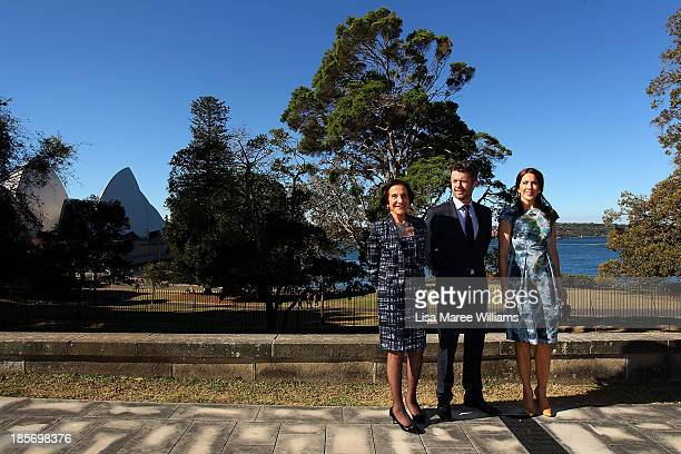 The Governor of NSW Professor Marie Bashir poses in the gardens of Government House alongside Crown Prince Frederik Crown Princess Mary of Denmark on...