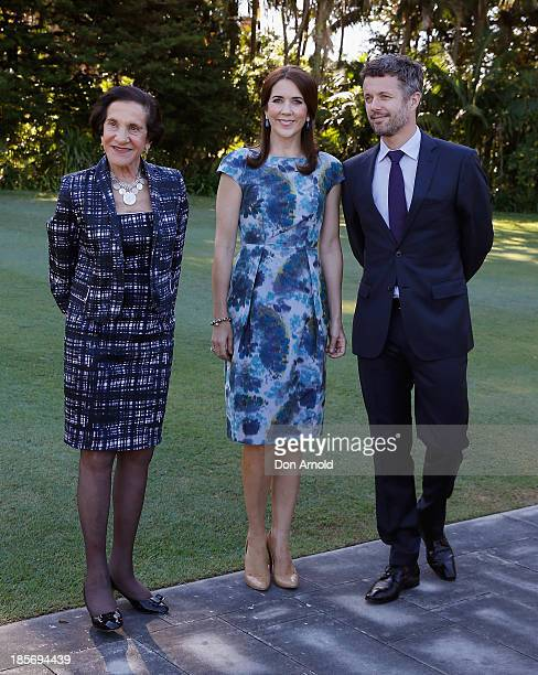 The Governor of NSW Professor Marie Bashir walks through the gardens of Government House alongside Crown Prince Frederick and Crown Princess Mary of...