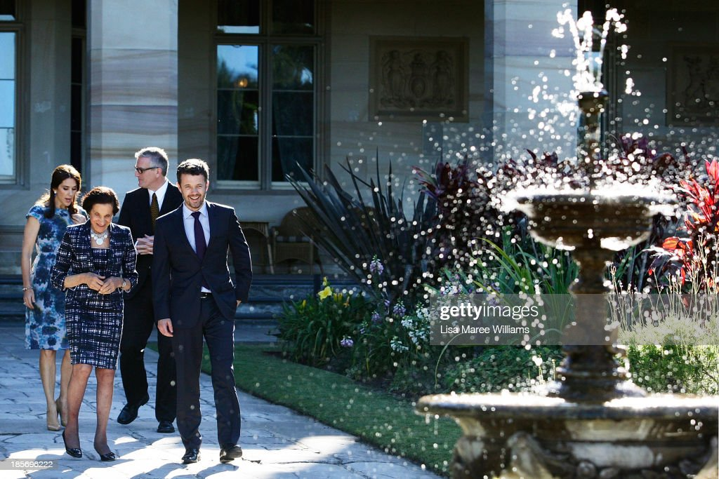 The Governor of NSW, Professor Marie Bashir walks through the gardens of Government House alongside Crown Prince Frederik, Crown Princess Mary of Denmark and Christopher Sullivan on October 24, 2013 in Sydney, Australia. Prince Frederik and Princess Mary will visit Sydney for five days and will attend events to celebrate the 40th anniversary of the Sydney Opera House and the Danish architect who designed the landmark, Jorn Utzen.