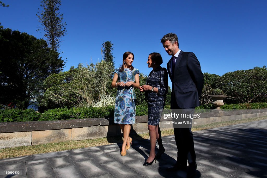 The Governor of NSW, Professor Marie Bashir (c) walks through the gardens of Government House alongside Crown Prince Frederik, Crown Princess Mary of Denmark on October 24, 2013 in Sydney, Australia. Prince Frederik and Princess Mary will visit Sydney for five days and will attend events to celebrate the 40th anniversary of the Sydney Opera House and the Danish architect who designed the landmark, Jorn Utzen.