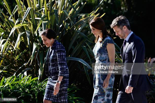 The Governor of NSW Professor Marie Bashir walks through the gardens of Government House alongside Crown Prince Frederik and Crown Princess Mary of...