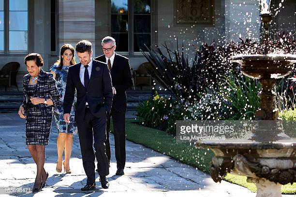 The Governor of NSW Professor Marie Bashir walks through the gardens of Government House alongside Crown Prince Frederik Crown Princess Mary of...