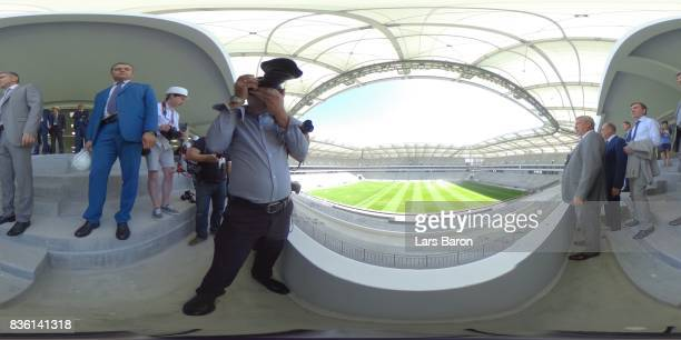 The governor of Rostov checks the arena on August 21 2017 near RostovonDon Russia