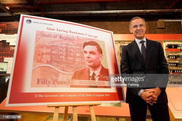 The Governor of the Bank of England Mark Carney reveals Alan Turing as the new figure to be depicted on the 50 GBP note at the Manchester Science and...