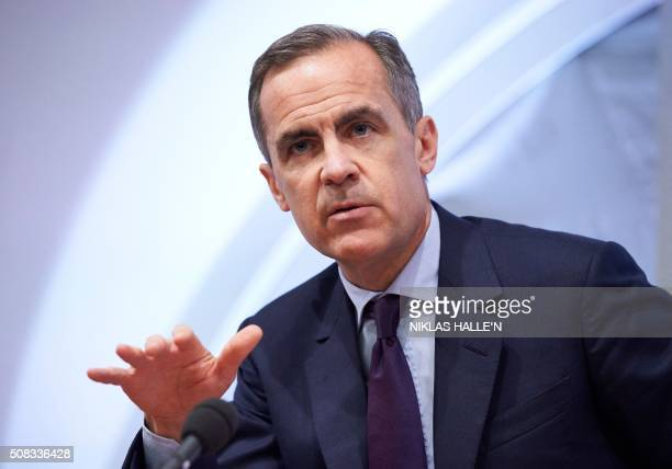 The Governor of the Bank of England Mark Carney speaks during the quarterly Inflation Report press conference in central London on February 4 2016...