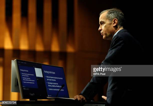 The Governor of the Bank of England Mark Carney speaks to the Scottish Economics Forum via a live feed on March 2 2018 in London England Mark Carney...