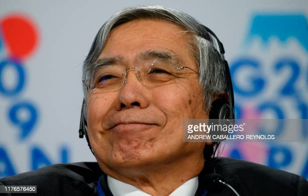 The Governor of the Bank of Japan, Haruhiko Kuroda, attends a press conference at the IMF in Washington, DC, on October 18, 2019.