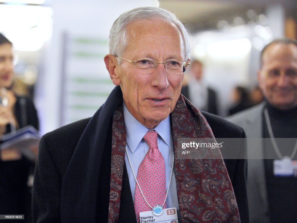 The Governor of the Central Bank of Israel, Stanley Fischer, arrives to attend a session at the congress center of the World Economic Forum in Davos, on January 25, 2013. The meeting gathers some of the world's leading politicians and economists and is viewed as a global think tank forum.