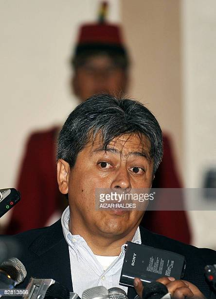 The Governor of the state of Tarija Mario Cossio speaks with the press upon his arrival at Quemado presidential palace in La Paz on September 14 2008...