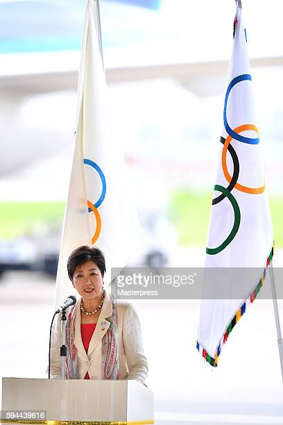 The governor of Tokyo Yuriko Koike speaks during the 'The Arrival of Olympic Flag Ceremony' at Haneda Airport on August 24 2016 in Tokyo Japan